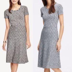 ANN TAYLOR Gray Bandage Spacedye Flare Dress